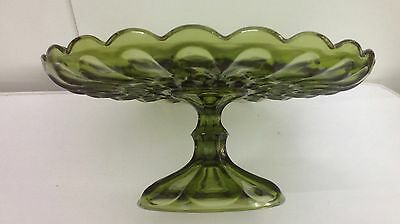 Beautiful Vintage Depression Green Pedestal Glass Cake Plate/Stand