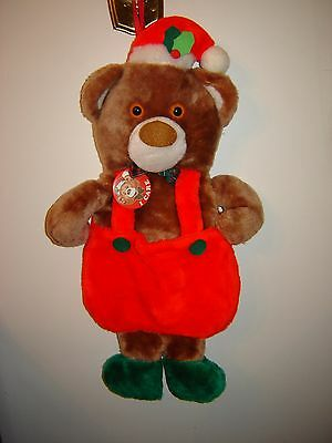 Vintage Sears Theodore Teddy Bear w/Overalls Christmas Stocking w/ I Care Button
