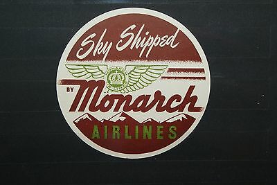 "Alte Aufkleber  ""Monarch Airlines - Sky Shipped"""