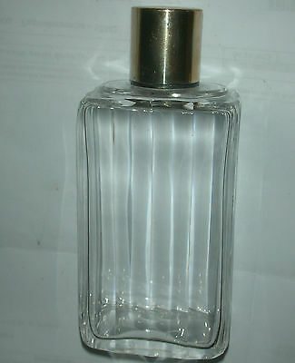 Antique Clear Glass Perfume Bottle French Sterling Silver Stopper