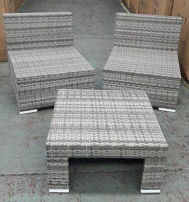 Port Royal Rattan Rustic Grey Chairs & Coffee Table Outdoor Patio Furniture