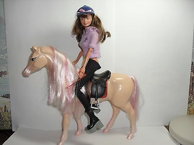 barbie doll with  beautiful horse ,dressed in her riding gear