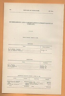 1906 train report HUMMELSTOWN & CAMPBELLSTOWN RAILWAY Rare Hershey PA cable Car