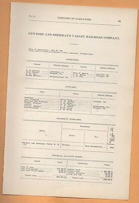 1906 train report NEWPORT & SHERMAN'S VALLEY RAILROAD New Germantown Perry CO PA