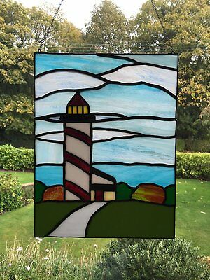 Stained Glass Suncatcher,Tiffany style,   Lightouse