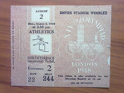 Ticket Olympic Games LONDON 1948 - ATHLETICS 02.08.1948