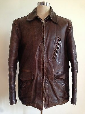 Rare Vintage 1940's Horsehide Jacket Coat Nice Patina Size 42 Men's Medium