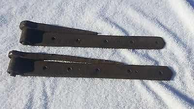 "Two 14"""" Vintage Hand Made Iron Barn Door Strap Hinges with anchor legs  #679"