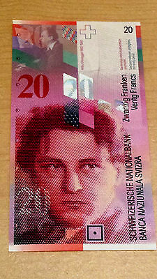 Switzerland 20 Francs 2012 Unc Swiss Currency Bill Note