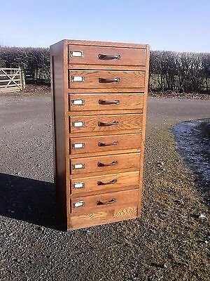 A Fab Vintage Bank Of Drawers Solid Oak Filing Cabinet Steel Handles • £225.00
