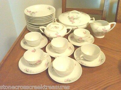 32- Piece Vintage Victoria Czechoslovakia China Set Pink Roses Gold Trim