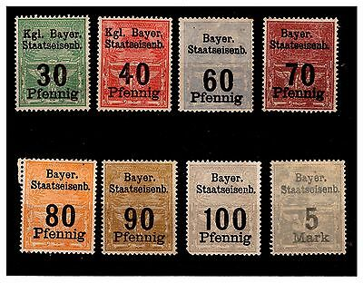 Germany - Bayer Staatseisenb Railway Stamps. 1910. Mounted.  {#574}