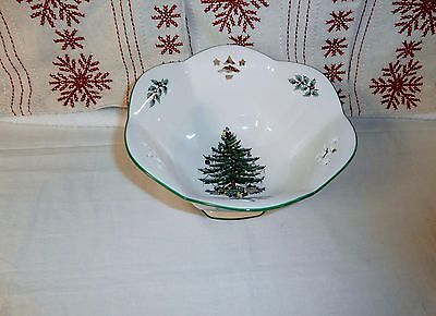 """Spode  Christmas Tree~Pierced Footed Compote Bowl 7"""" England"""