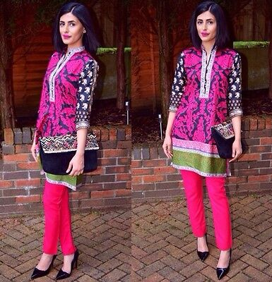 Khaadi Kurta Kameez & Trousers Designer Asian Pakistani Clothes Black & Pink