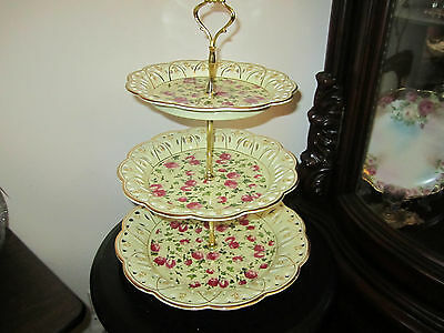 Ivory & Roses China 3 tier Serving Dish Large