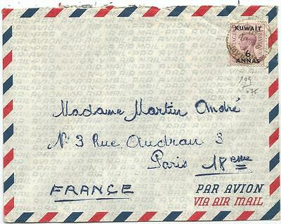 Kuwait 6 Annas Solo Lettre Cover Air Mail Kuwait City 1950 To France