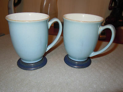 pair of denby mugs pale blue outer  dark blue base 6 available