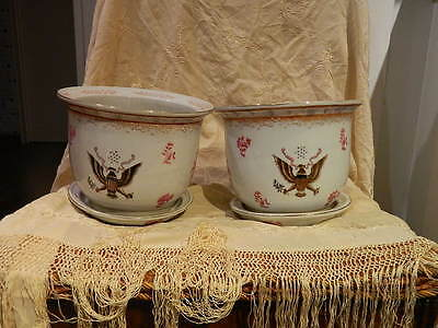 old Porcelain pair Cache Pot -Chinese Export - American Eagle USA