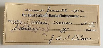 1943 The First National Bank of Intercourse PA Check