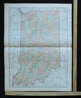 Antique 1894 INDIANA Map Excellent Large Size For Wall 28 x 22