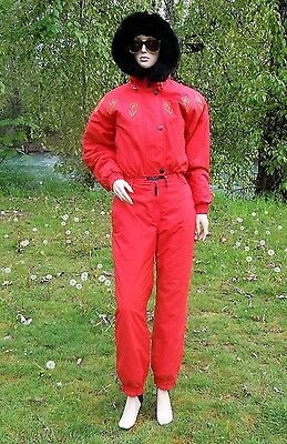 Mistral Ski Suit 10 Red Zippered  Bodysuit Nylon Hooded Suit Wool Lined 10Usa