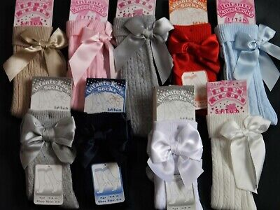 Newborn Up To Child Size Girl Knee Length Bow Socks