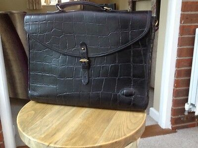 Mulberry briefcase black croc leather