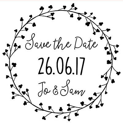 Personalised Laser Rubber Stamp Heart Vine Save The Date