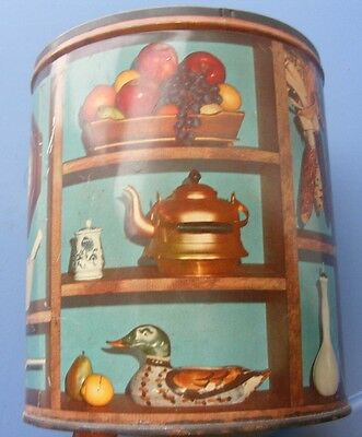 Vintage 1950's ?  Tin Can Teal Blue W/  Nice Detail