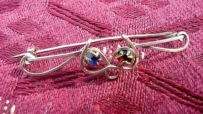 1920s Vintage Gold Tone Bent Wire Brooch, Red & Blue Stones