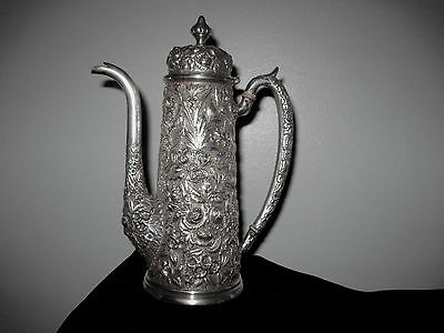 Baltimore Sterling Silver Co. Chocolate or Demitasse Coffee Pot Repousse Flowers