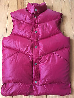 VINTAGE 1980's CAMPUS RED QUILTED DOWN VEST MEN'S SMALL EXCELLENT COND!