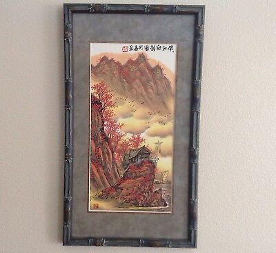 Beautiful Chinese Painting Red Flowers House Boat Museum Framed Signed