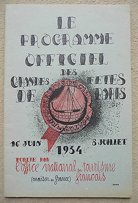 Programme officiel des Grands Fetes de Paris 1934