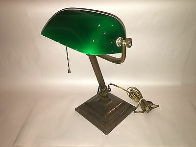 Antique Bankers Desk Lamp Brass Green Shade Solid 1930's Adjustable