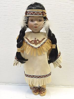 """Porcelain 15"""" Native American Doll w/Papoose & Stand"""