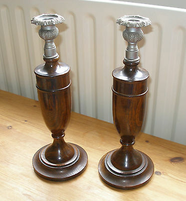 Oak Candlesticks x 2 - very good condition
