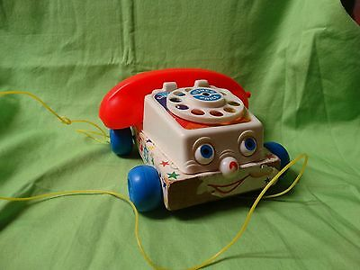 Vintage 1961 Fisher Price #747 Wooden CHATTER PHONE ROTARY TELEPHONE