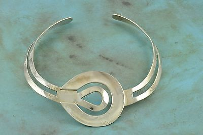 Bold Modernist Sterling Silver COLLAR Style Necklace Heavy 80 Grams Mexico VR??