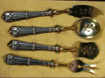 Antique French Sterling Silver & Gold Vermeil Hors D'oeuvres Flatware Set
