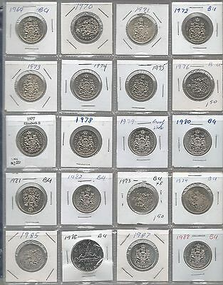 Canada 1969-1988 50 Cent Coins  20 Uncirculated Coins