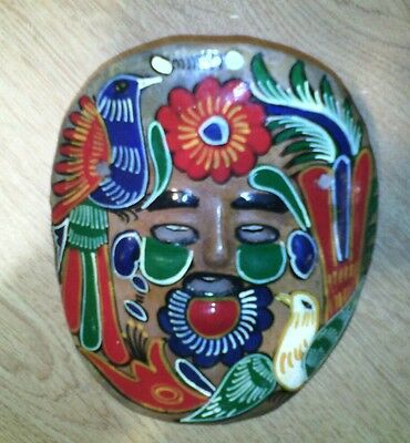 VINTAGE RARE MASK TERRA COTTA CLAY Spanish Mexican Hand Painted COLLECTIBLE BIRD