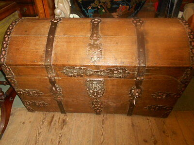 Antique17Th Century Oak Dome Topped Coffer Chest Iron Strapping  Treasure Chest