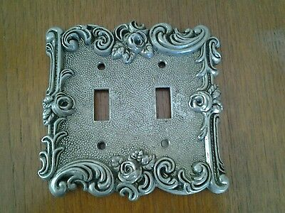 Vintage silver toned double light switch cover plate