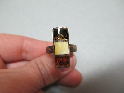 Vintage Silver 925 Amber Ring