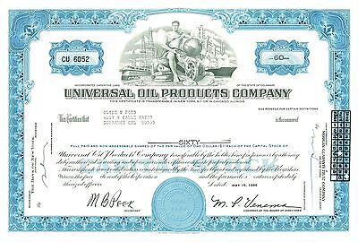 1968 UNIVERSAL OIL PRODUCTS COMPANY - BLUE  Stock Certificate