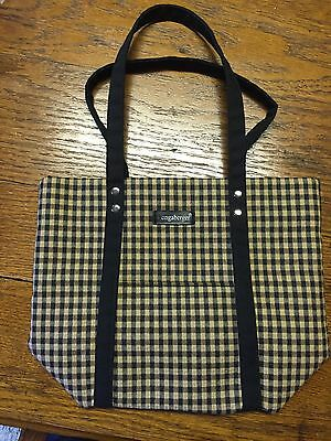Longaberger Black And Tan Checkered Tote Bag
