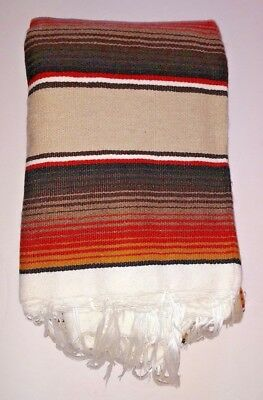 Mexican Blanket Serape Tan,Brown & Orange stripes white fringe  X-LARGE