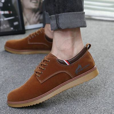 New Men's Faux Sued Breathable Casual Lace Up Canvas Sneakers Fashion Shoes