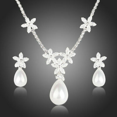 Bridal Pearl Jewellery Sets CZ Pearl Necklace and Earrings Set Wedding Jewelry